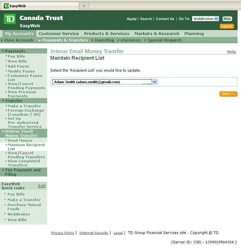 td canada trust interact how to delete recipient